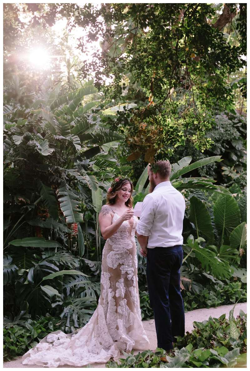 Vow renewaal in Tamarindo Costa Rica. Photographed by Kristen M in the jungle gardens of Hotel Capitan Suizo. Brown of Samba to the Sea Photography.