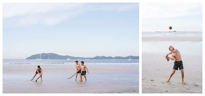Playing on the beach in Tamarindo Costa Rica family photos. Photographed by Kristen M. Brown of Samba to the Sea Photography.