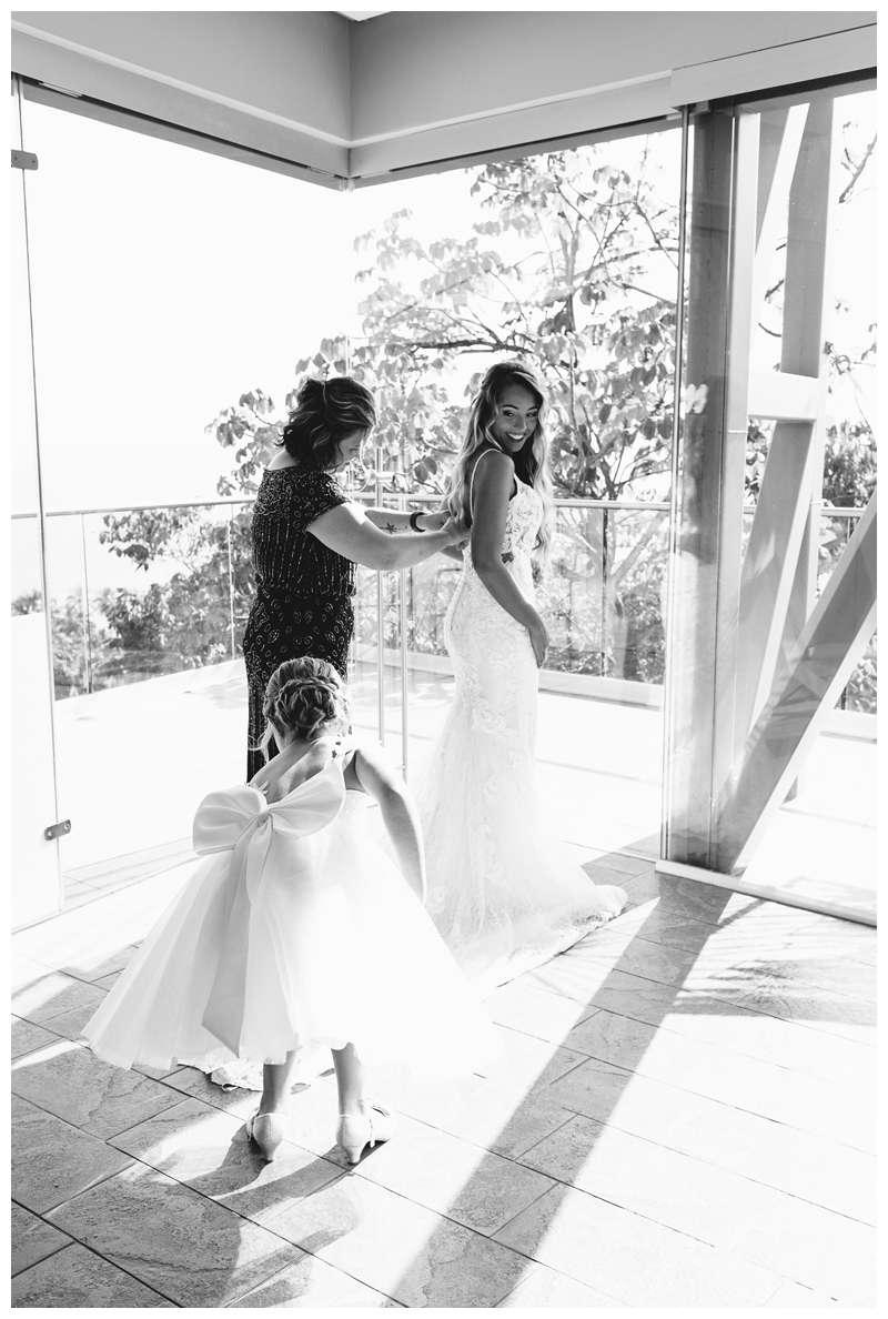 Bride and her mom before her destination wedding in Manuel Antonio Costa Rica at Villa Punto de Vista.