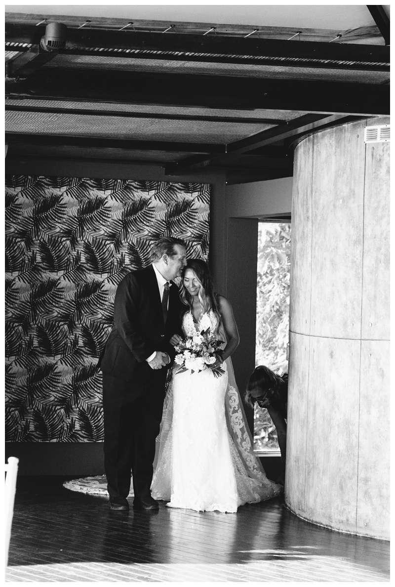 Bride with her father. Destination wedding in Manuel Antonio Costa Rica at Villa Punto de Vista.