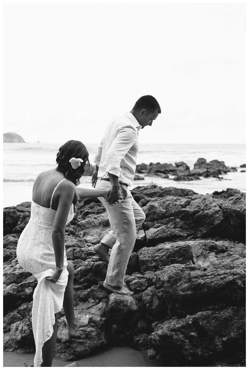 Bride and groom on the beach after their intimate destination wedding in Manuel Antonio Costa Rica at Casa Diamante.