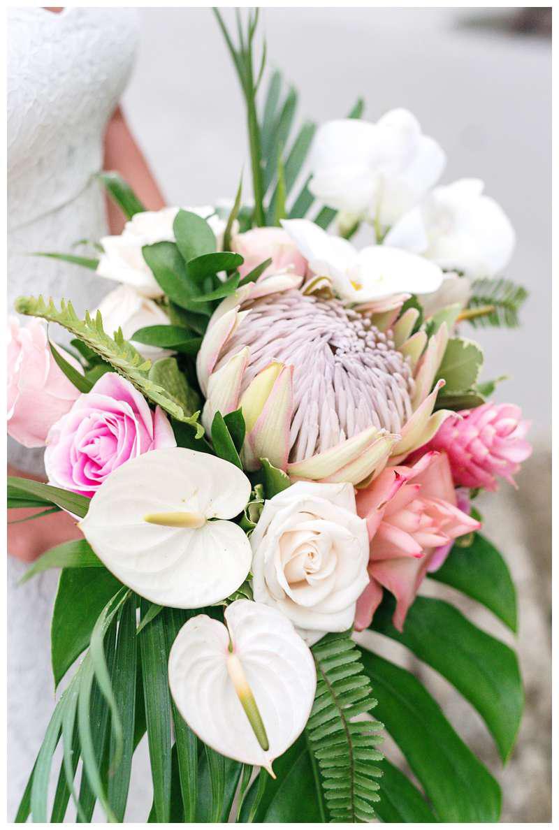 Tropical bouquet for an intimate destination wedding in Manuel Antonio Costa Rica at Casa Diamante.