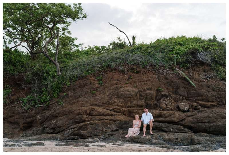 Photo of husband and wife on the beach. Costa Rica honeymoon photos in Tamarindo. Photographed by Kristen M. Brown of Samba to the Sea Photography.